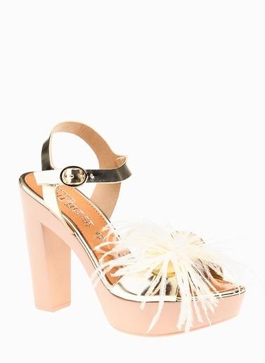 Divarese 5021414 Platformlu Suni Deri Kadın Sandalet Altın